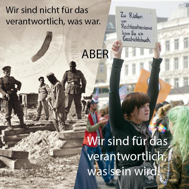 Historisches Bild KZ-Neuengamme und aktuelles Bild Demonstrantin gegen Rechtsextremismus